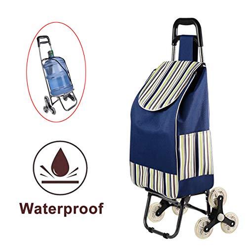 Einkaufstrolley 35L mit Abnehmbare & regenfeste Tasche - mit Geräuschlosen Gummi-Dreirad,6 Rädern Dual Use Leichte Treppensteigen Warenkorb,Seat