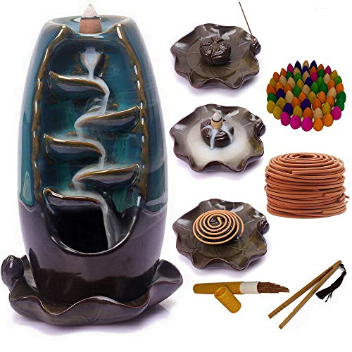 Incense holder Censewax -Ceramic Backflow Incense Burner - Smoke Waterfall Incense Burner Home Decor Aromatherapy Ornament, Mountain River Handicraft, Fountain Flow,100 Cones,30 Sticks and coils.