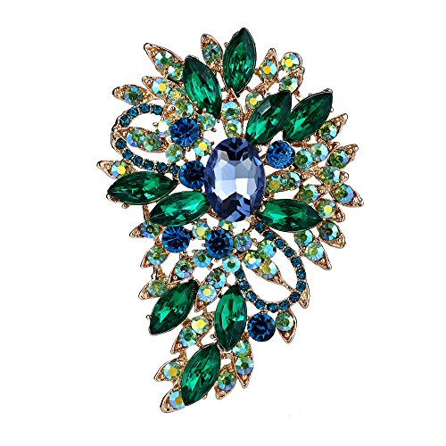 EVER FAITH Broche para Mujer Marquesa Boda Flor Hoja Cristal Austríaco Azul Verde Oscuro Tono Dorado