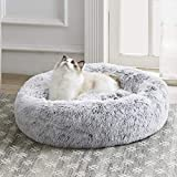 Western Home Faux Fur Dog Bed & Cat Bed, Original Calming Dog Bed for Small Medium Large Pets, Anti Anxiety Donut Cuddler Round Warm Washable Cat Bed for Indoor Cats(20', Light Grey)