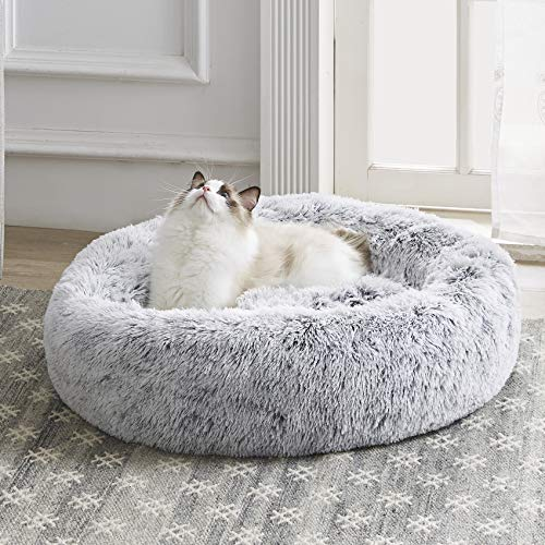 Western Home Faux Fur Dog Bed & Cat Bed, Original Calming Dog Bed for Small Medium Large Pets, Anti Anxiety Donut Cuddler Round Warm Washable Cat Bed...