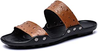 Ranipobo Summer Outdoor Slippers Antislip Perforated Microfiber Leather Rivets Closure Tightly for Men (Color : Brown, Size : 7.5 UK)