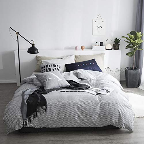 RR&LL Simple Style Cotton Duvet Cover,alphabet Pattern Reversible Soft Breathable Comfort Durable Quilt Cover With Zipper Closure Ties-c 200x230cm(79x91inch)