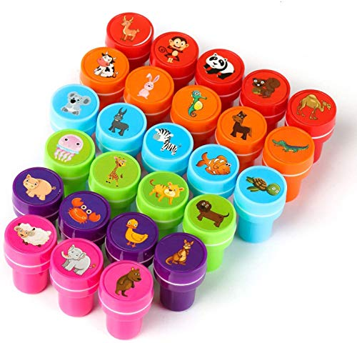 26Pcs Zoo Animal Stamps for Kids, Self Inking Stamps for Kids Birthday Gift, Farm Party Favors, Teacher Stamps