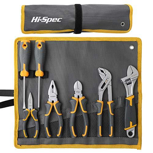 Hi-Spec 7-teiliges Zangen-, Schraubenschlüssel und Schraubendreher-Werkzeugset mit Schneidwerkzeugen. Die grundlegenden Handwerkzeuge für allgemeine. Gesichert in einer Rolltasche.