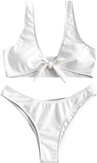 ZAFUL Women's Tie Knot Front Plunge Scoop Neck Bikini Set Two Piece Swimsuit