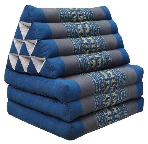 Wifash Colchón Thai 3 Pliegues, con cojín triángulo, Ocio, colchón, Kapok, Playa, Piscina, Fabricado en thailande, Azul/Gris con Elefantes (81703)