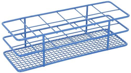 Heathrow Scientific HD120087 Gefäßständer für 33 mm Röhrchen, Epoxy beschichteter Stahl, 2 x 6 Stellplätze, Blau