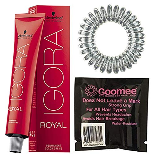 Schwarzkopf Igora Royal 8-00 Light Blonde Natural Extra Permanent Hair Color and Goomee The Markless Hair Loop Single Pack Diamond Clear (Bundle - 2 items)
