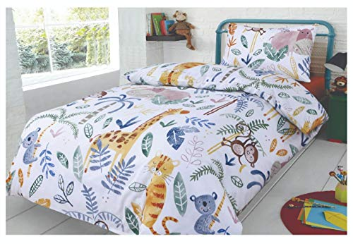 SleepyNights Junior Cot Bed Duvet Cover and Pillow Set- Cotton Rich 120 x 150 cm – Jungle Jamboree