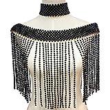 Cadena de hombro con perlas y cadena de hombro elegante para niña, cadena de cuerpo, joyería de cuello grande para vestidos de novia de mujer (color metálico: negro)