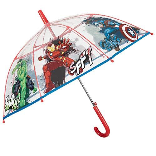 Marvel Avengers Regenschirm Transparent Kinder - Kinderregenschirm Durchsichtig Automatik mit Captain America Hulk Iron Man - Regen Schirm Kinderschirm Jungen 4/6 Jahren - Durchmesser 74 cm - Perletti