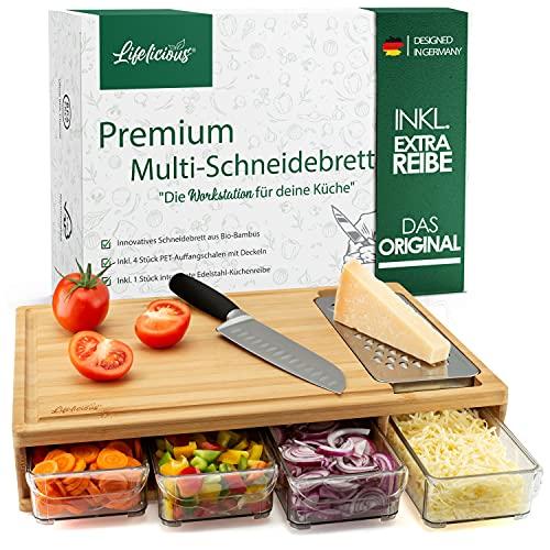 LIFELICIOUS® Premium Multi-Schneidebrett mit 4X Auffangschalen & Deckeln [+ inkl. Edelstahlreibe] Extra großes Profi-Küchenbrett-Set (XXL) aus Bambus-Holz mit Saftrille...