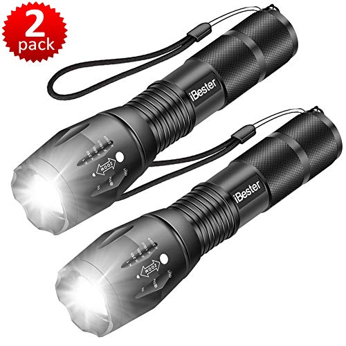 Tactical Flashlight, iBester XML-T6 LED Flashlight, High Lumen, Portable, Zoomable, 5 Modes, Water Resistant, Perfect for Camping, Outdoor (2 Pack)