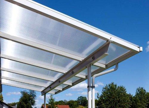 Überdachung Terrasse Bausatz 4x3m Stegplatten und Profile für Unterkonstruktion (opal-weiß)