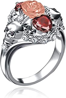 Deelan Gothic Style Skull Ring for Women Red Crystal Heart Vintage Jewelry Rose Flower Black Gold Plated Rings