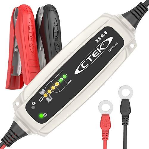 CTEK XS 0.8 Mantenitore di carica automatico (Per il mantenimento della carica di batterie da moto o altri batterie di veicoli di piccole dimensioni) 12V, 0.8 Amp - Presa Europea