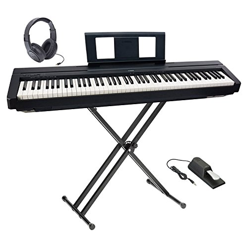 Yamaha P-45 Ultra Platinum Keyboard Package With Headphones, Double-X Stand and Sustain Pedal