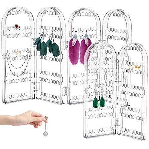 BITEFU 2 tamaños plegables, soporte para pendientes y joyas, organizador acrílico transparente, almacenamiento para pendientes, pulseras, collares