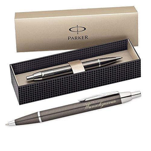 polar-effekt Parker IM Kugelschreiber mit Gravur - Farbe Metall grau - Großraummine blauschreibend mit Geschenk-Etui - Druckkugelschreiber Geschenk-Idee zum Geburtstag