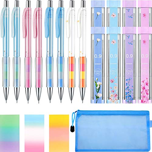 20 Pieces 0.9mm Mechanical Pencil Set, Include 8 Pieces 0.9 mm Automatic Pencil, 8 Pieces 2B Lead Refills, 3 Pieces Erasers and Pencil Bag for Writing Drawing Crafting