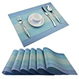 BeChen Plastic Placemats,Non Slip Washable Placemats for Dining Table Wipe Clean Table Mats Set of 6(Blue)
