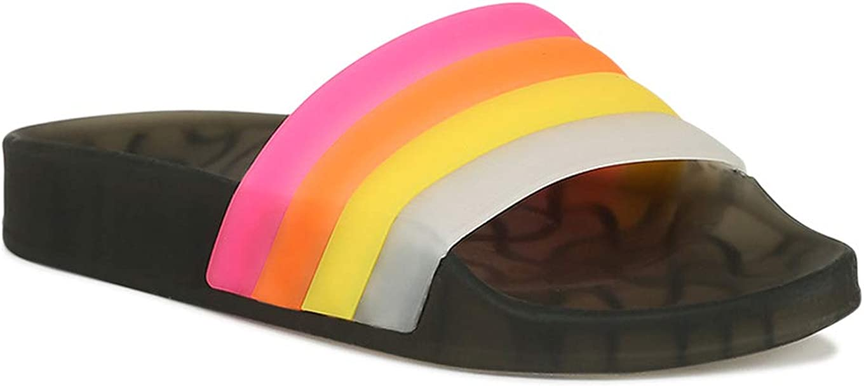 Alrisco Women Colored Translucent PVC Slide Sandals RG06 - Black (Size: 5.0)