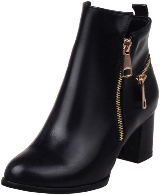 FANIMILA Women Fashion Block Heel Short Boots with Zipper