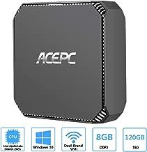 ACEPC AK2 Mini PC,Intel Celeron J3455,Windows 10 Mini Computer,8GB RAM/120GB mSATA SSD,4K HD Graphics,Gigabit Ethernet,Dual Band Wi-Fi,Bluetooth 4.2