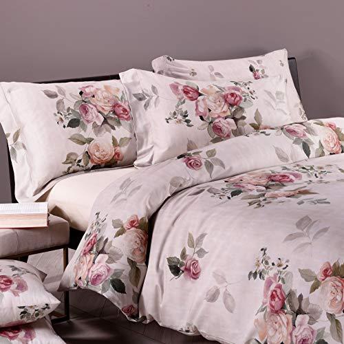 Caleffi Rose e Fiori Completo Lenzuola, Raso di Cotone, Multicolore, Matrimoniale