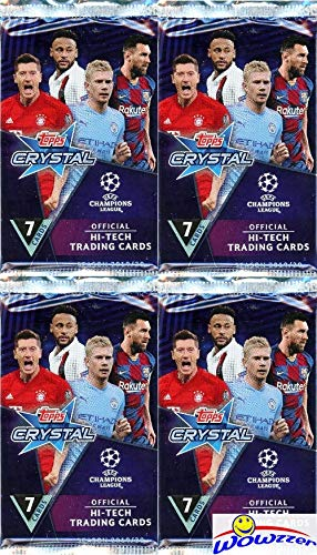 2019/20 Topps Champions League CRYSTAL Soccer Collection of (4) Factory Sealed Packs with 28 Cards! Erling Haaland RC Year Product! TRANSPARENT HI-TECH Cards of Top EUFA Stars! Imported from Europe!