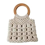 Boho - Bolsa de ganchillo para mujer, de algodón, tejida a mano, con mango redondo de madera, 2 colores