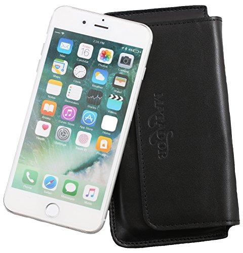 MATADOR Leder Handyhülle Ledertasche Lederhülle kompatibel mit iPhone 6 Plus 6s Plus Schwarz