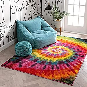 Tie Dye Retro Rainbow Trippy Multi Hippie Red Orange Yellow Green Modern Painting 3X5 (3'3″ X 5′) Area Rug Easy Clean Stain Fade Resistant Shed Contemporary Geometric Art Thick Soft Plush