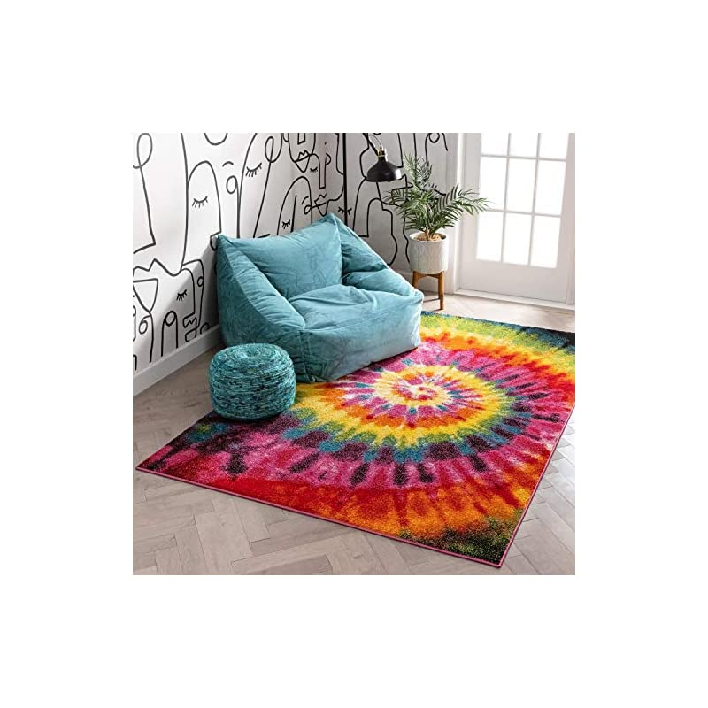 """silk flower arrangements tie dye retro rainbow trippy multi hippie red orange yellow green modern painting 3x5 (3'3"""" x 5') area rug easy clean stain fade resistant shed contemporary geometric art thick soft plush"""