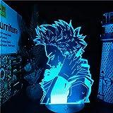 Luz nocturna 3D LED Anime Hitoshi Shinso, lámpara 3D My Hero Academia LED Night Light para niños dormitorio decoración Hitoshi Shinso Navidad cumpleaños mesa regalo Navidad 7 colores Touch