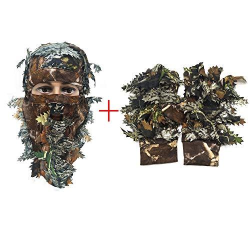 Maschera Mimetica 3D Leaf Stereo Turchia +1 Paio Pesca Caccia Guanti Foglia 3D Sport all'Aria Aperta Caccia Ghillie Suit