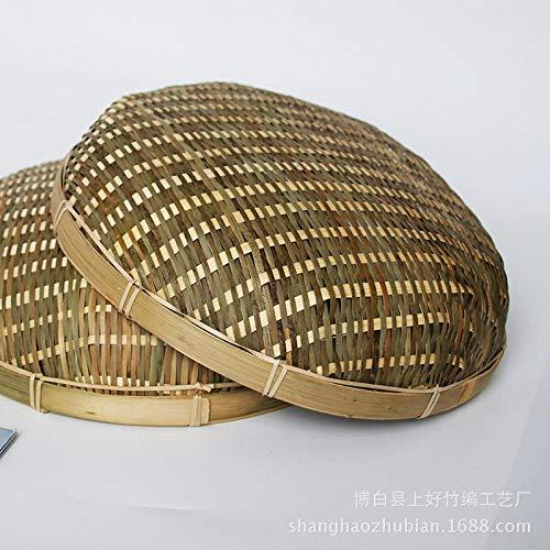Yanxinenjoy Handgemachte Bambusprodukte, Bambus-Kehrschaufel, Bambuskorbkorb, Bambussieb, Brötchenaufbewahrungskorb, Obstwaschgemüse-Bambus grüner Bildschirm 30 × 9