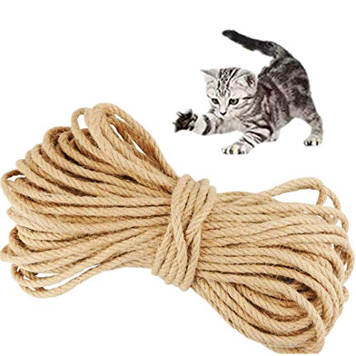 MXiiXM Sisal Rope for Cats, Hemp Rope for Cat Scratching Post Replacement - Premium Durable Unoiled Sisal Twine 100% Natural Twisted Fiber Twine (1/5inch(5mm), 99FT, Hemp)