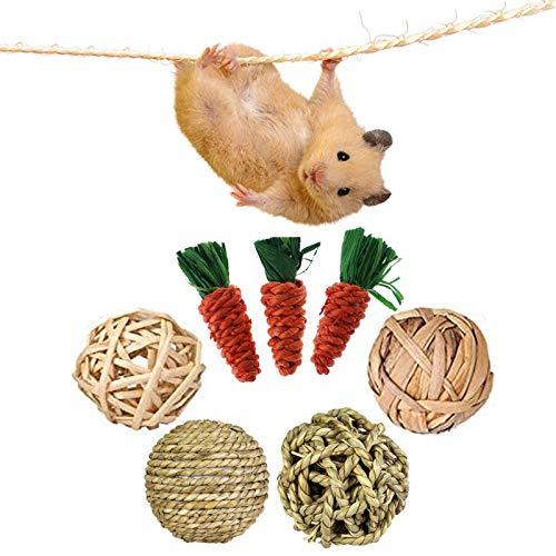 mellystore Giocattoli da Masticare Coniglio, 7PCS Giocattoli da Masticare per Criceti, Giochi per Conigli Nani Pulizia dei Denti, Naturale Giocattolo per Piccoli Animali Criceti, Conigli, Cavia
