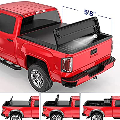 MOSTPLUS Quad Fold Tonneau Soft Cover Truck Bed Compatible for 07-13 Chevy Silverado 1500 GMC Sierra 1500 Four Fold (5.8 FT) On Top
