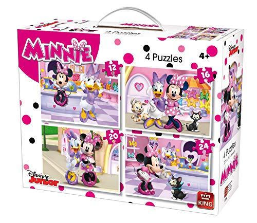 King 5254 Disney 4-in-1 Jigsaw Puzzle Minnie Mouse (12/16/20/24-Piece) - 4 Puzzles in a Suitcase