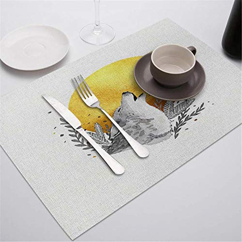 JIAYAN Placemat Table Mat Hand Painted Green Leaves Printed For Tables Heat-insulation Linen Kitchen Dining Pads