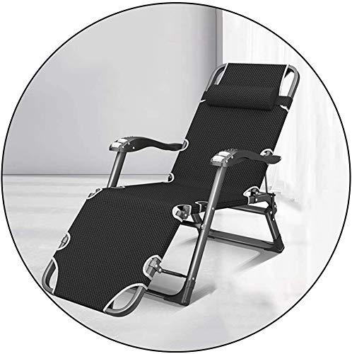 Liegestuhl klappbar schwerer verstellbare Liegestühle,Klapp Aluminium Liegestuhl, abnehmbar mit einem Wattebausch, tragbares Büro zu Hause im Freien Liegestuhl,tragende 200kg (Farbe, Schwarz),Schwarz