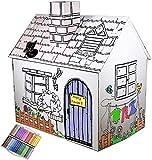 Funtress Casa de juegos de cartón para niños a colorear con marcadores al aire libre interior DIY pintura regalo para niños 49.2 x 35.5 x 52/34.2 pulgadas