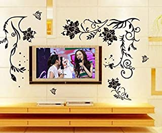 Black Flower Decoration Wall Sticker Home Decor Living Room Wall Decoration