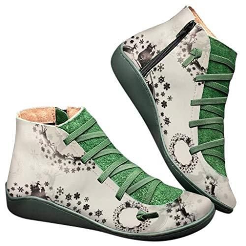 Botas Mujer 2019 Botines Cuero Zapatos de Cordones Vintage Otoño Botas Tacón Plano Cómodas Mujeres Botas Cortas Navidad con Cremallera Zapatos Casuales 35-43 riou