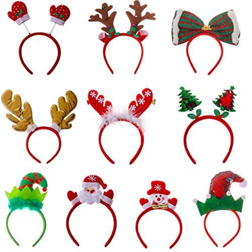 Bulk 10 Pack of Christmas Headband, Assorted Designs Reindeer Antlers Elf Hat Santa Claus, Accessory for Party Favors, Photo Props, Holiday Headwear for Kids Adults, Size Fits All Ages