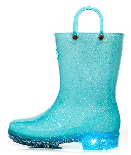 Outee Toddler Litter Kids Girls Light Up Rain Boots Waterproof Shoes Lightweight Glitter Cute Lovely with Easy-On Handles and Insole (Size 11,Blue)