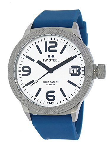 TW Steel Marc Coble Edition met siliconen band 45 MM Wit/Blue MCPR10